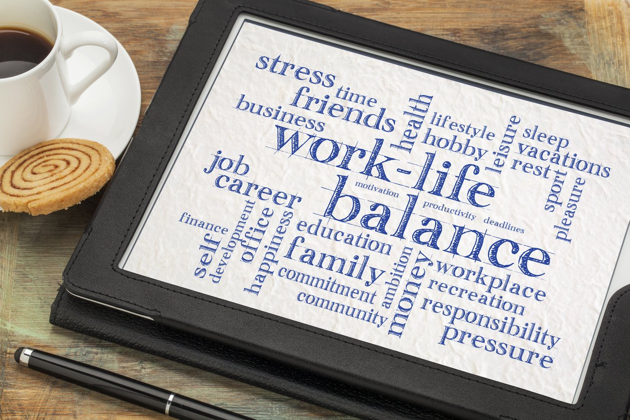 ipad with image of work-life balance as theme