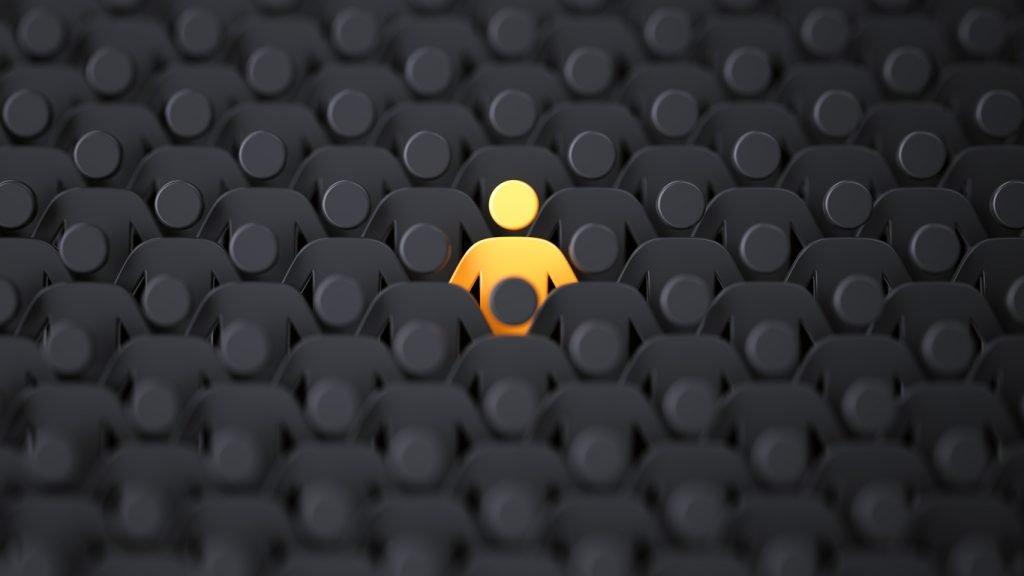 yellow human shape depicting individuality, audience targeting
