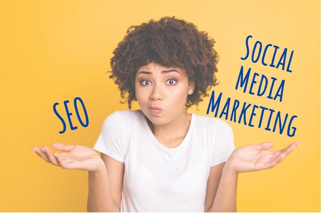 Girl considering seo or social media marketing